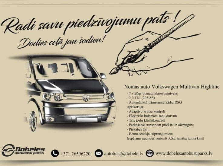 Nomas auto – Volkswagen Multivan – Juridiskām personām!