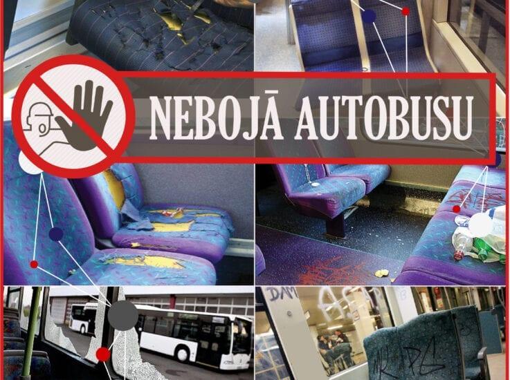Pasažieri, nebojā autobusu un tā inventāru!